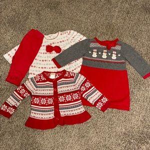 Christmas Holiday Gymboree Lot 4 Girls Size 6-12M